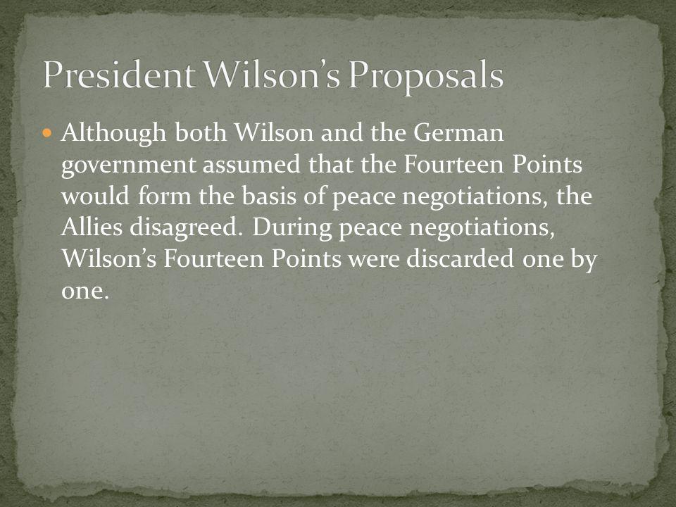 President Wilson's Proposals