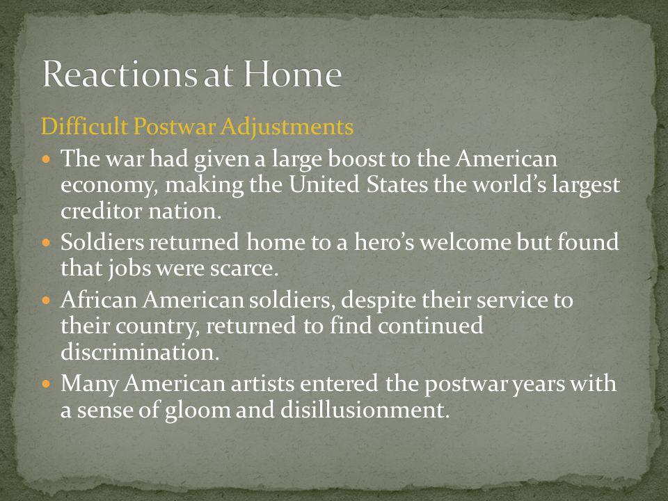 Reactions at Home Difficult Postwar Adjustments