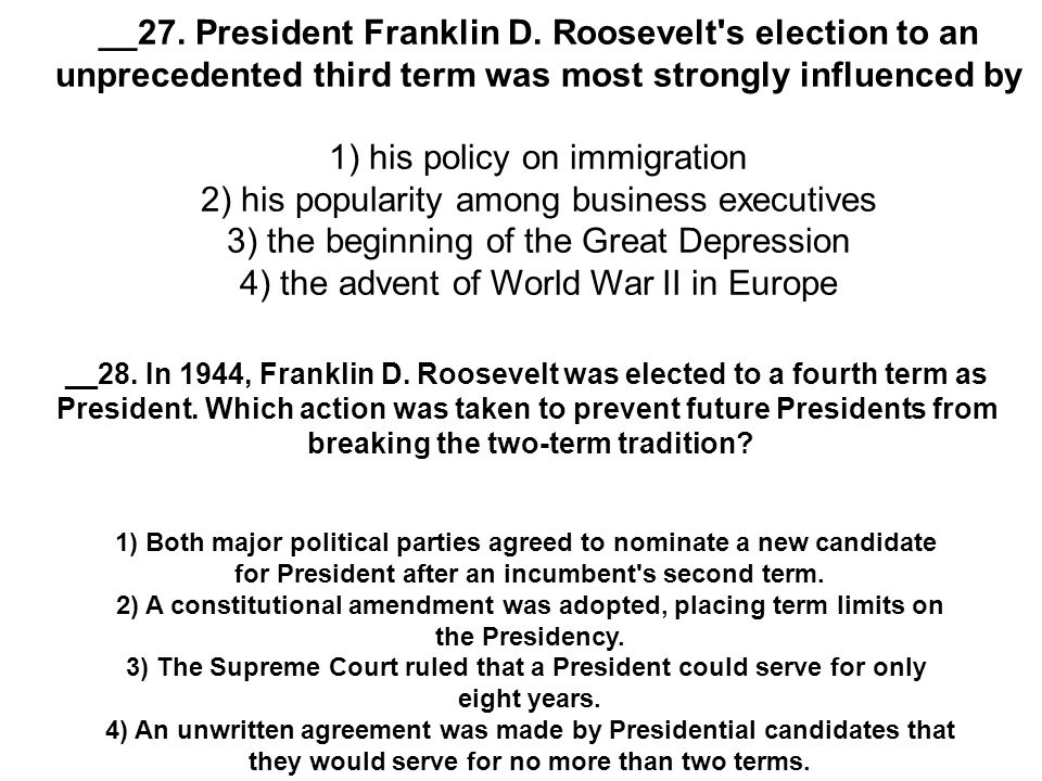 franklin roosevelt and violation of the no third term tradition When franklin roosevelt broke the no third term tradition, did he violate the constitution chacha answer: no he didn't violate the c.
