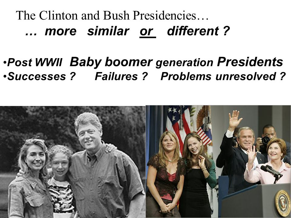 The Clinton and Bush Presidencies… … more similar or different