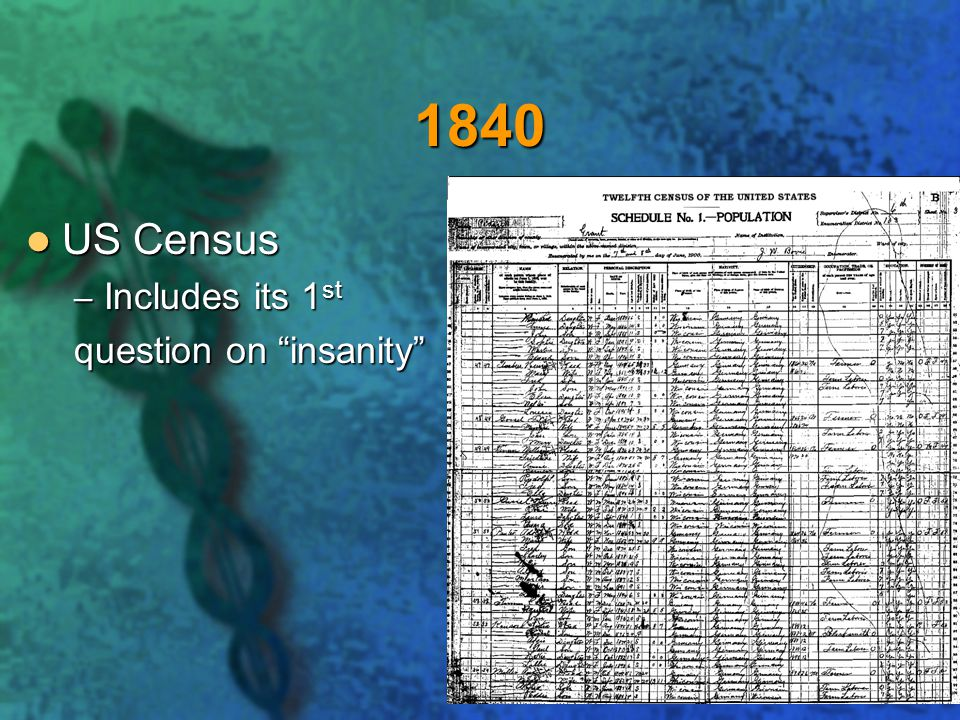 1840 US Census Includes its 1st question on insanity