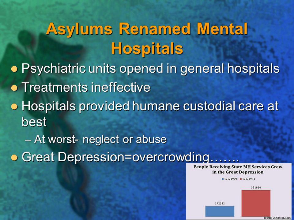 Asylums Renamed Mental Hospitals
