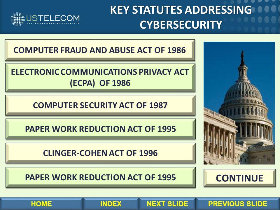 KEY STATUTES ADDRESSING CYBERSECURITY