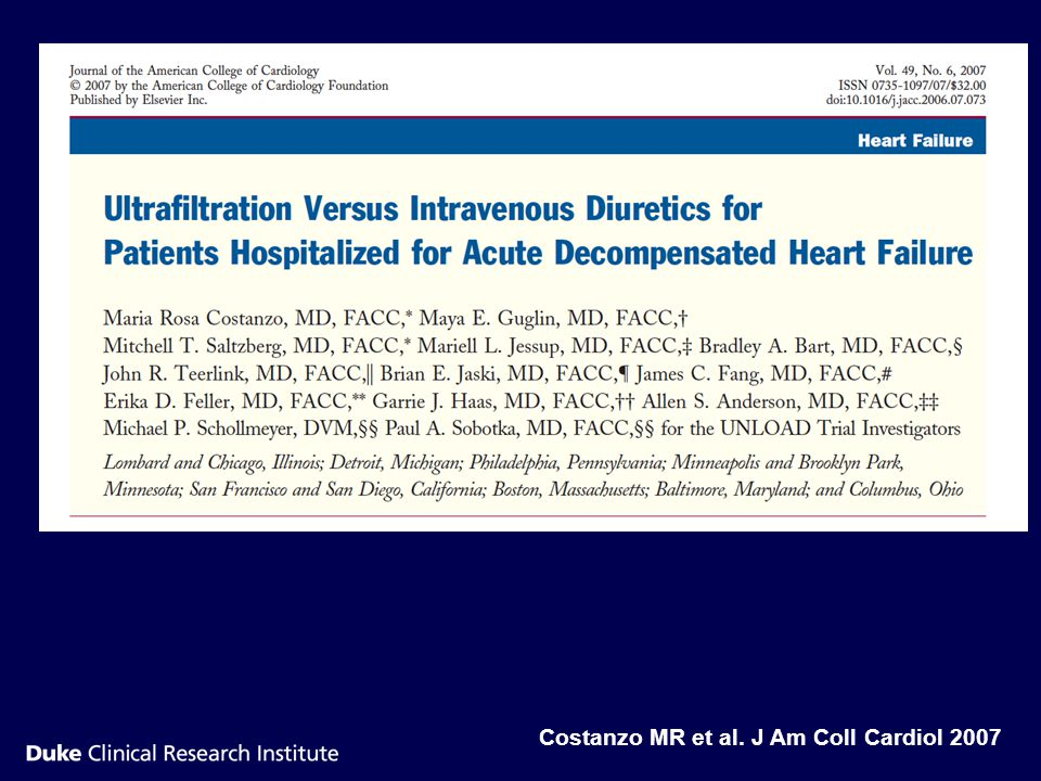 Costanzo MR et al. J Am Coll Cardiol 2007