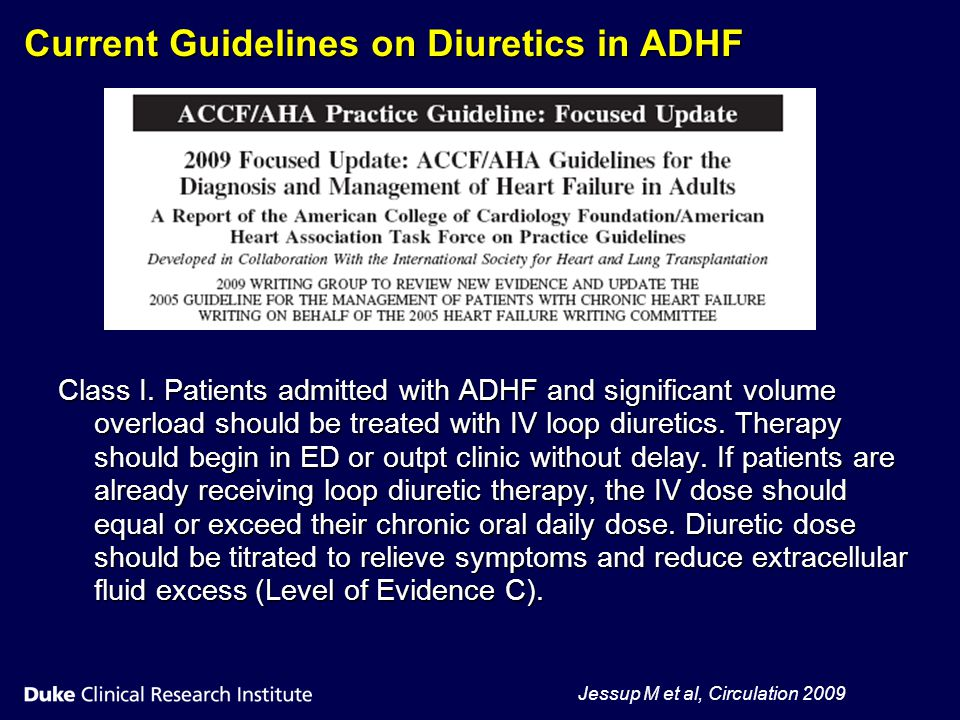 Current Guidelines on Diuretics in ADHF