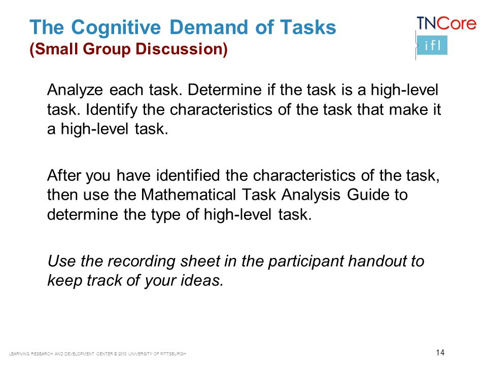 The Cognitive Demand of Tasks (Small Group Discussion)