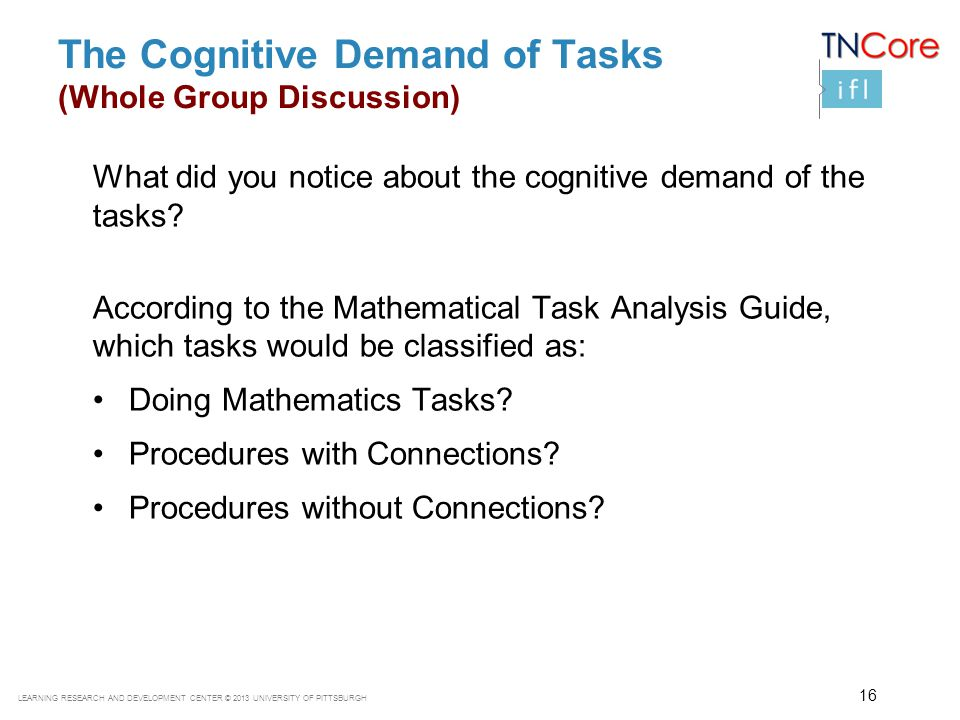 The Cognitive Demand of Tasks (Whole Group Discussion)
