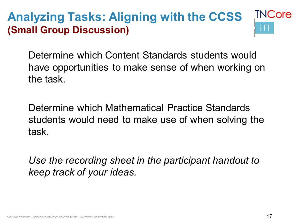 Analyzing Tasks: Aligning with the CCSS (Small Group Discussion)