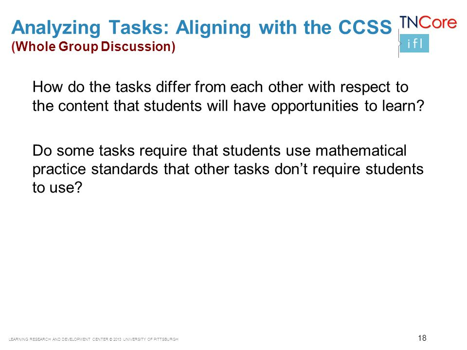 Analyzing Tasks: Aligning with the CCSS (Whole Group Discussion)