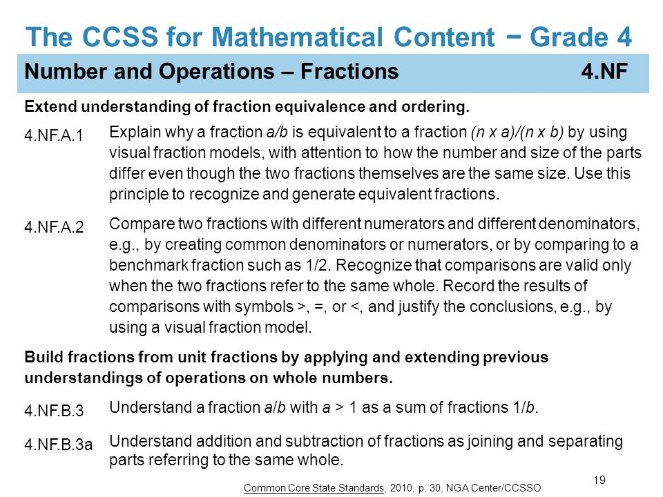 The CCSS for Mathematical Content − Grade 4