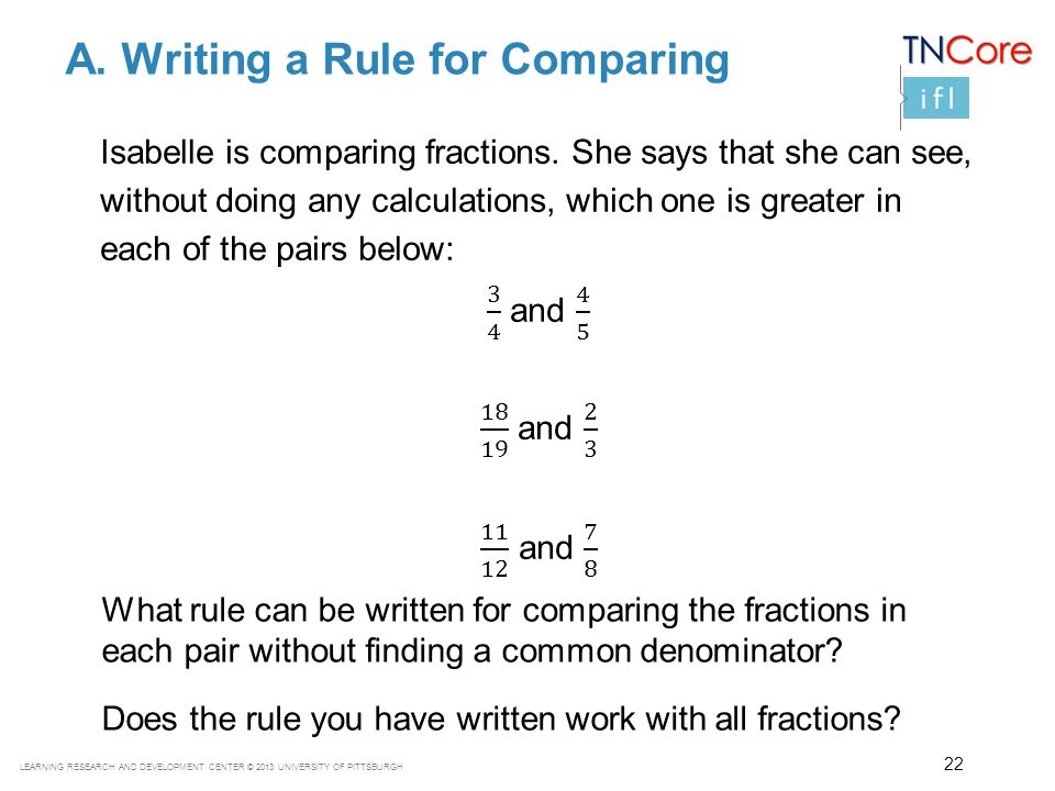 A. Writing a Rule for Comparing