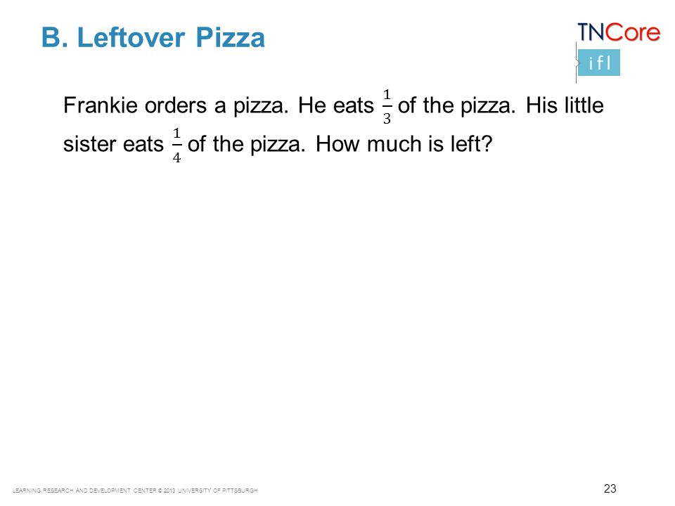 B. Leftover Pizza Frankie orders a pizza. He eats 1 3 of the pizza. His little sister eats 1 4 of the pizza. How much is left
