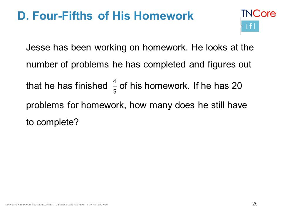 D. Four-Fifths of His Homework