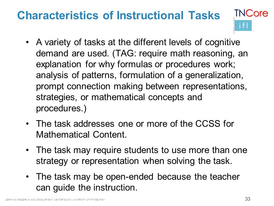 Characteristics of Instructional Tasks