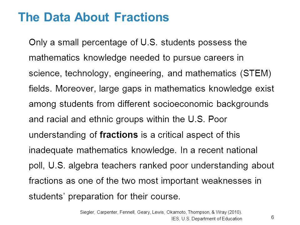 The Data About Fractions