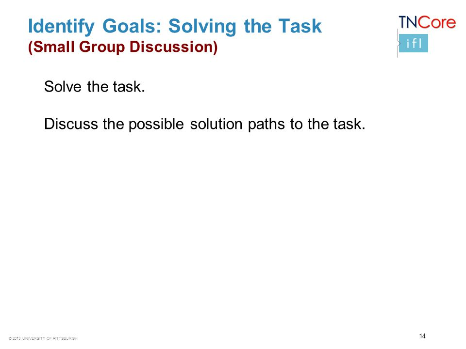 Identify Goals: Solving the Task (Small Group Discussion)