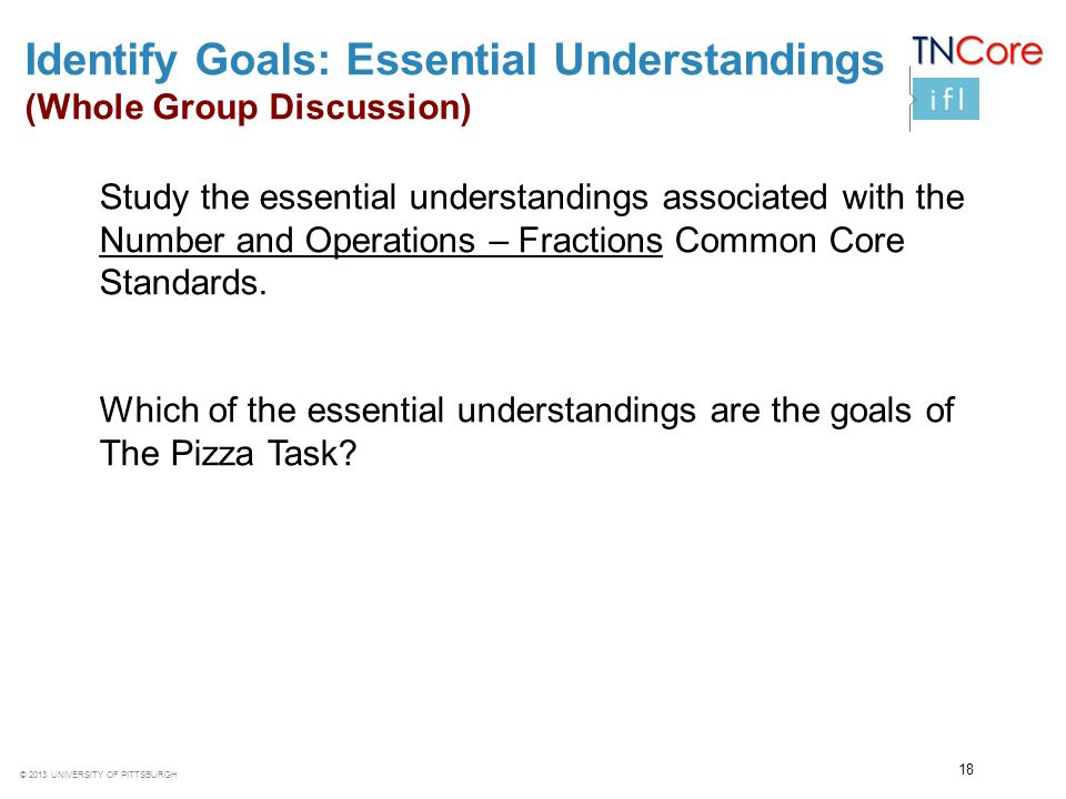 Identify Goals: Essential Understandings (Whole Group Discussion)