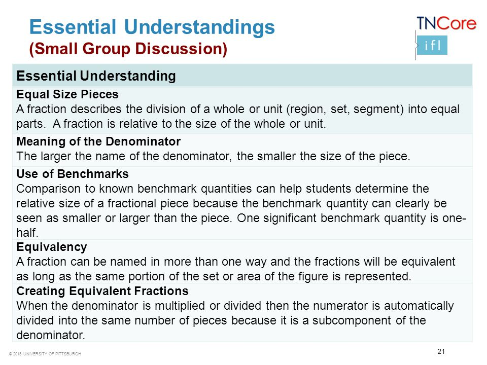 Essential Understandings (Small Group Discussion)