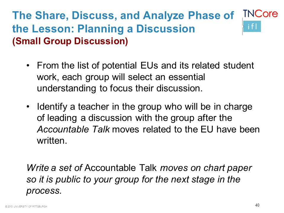 The Share, Discuss, and Analyze Phase of the Lesson: Planning a Discussion (Small Group Discussion)