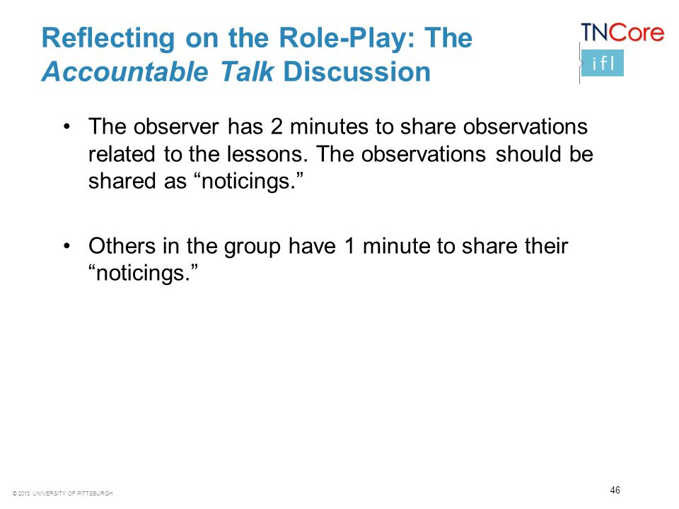 Reflecting on the Role-Play: The Accountable Talk Discussion