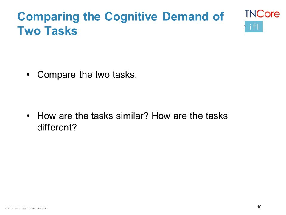 Comparing the Cognitive Demand of Two Tasks