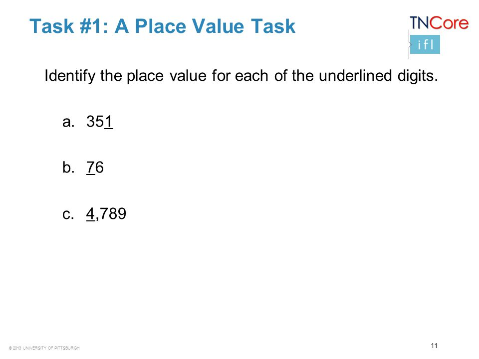 Task #1: A Place Value Task