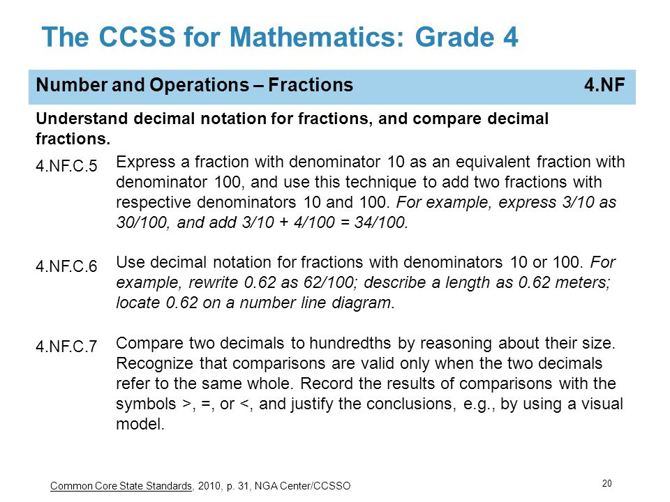 The CCSS for Mathematics: Grade 4
