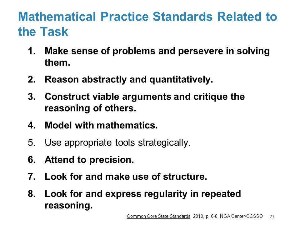Mathematical Practice Standards Related to the Task