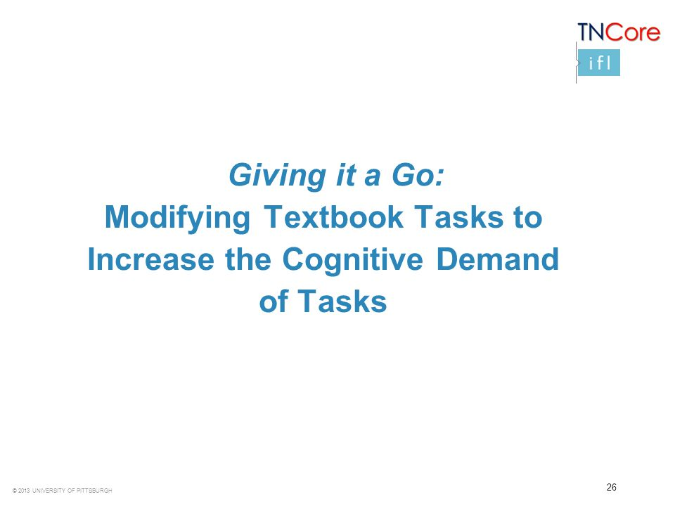 Modifying Textbook Tasks to Increase the Cognitive Demand