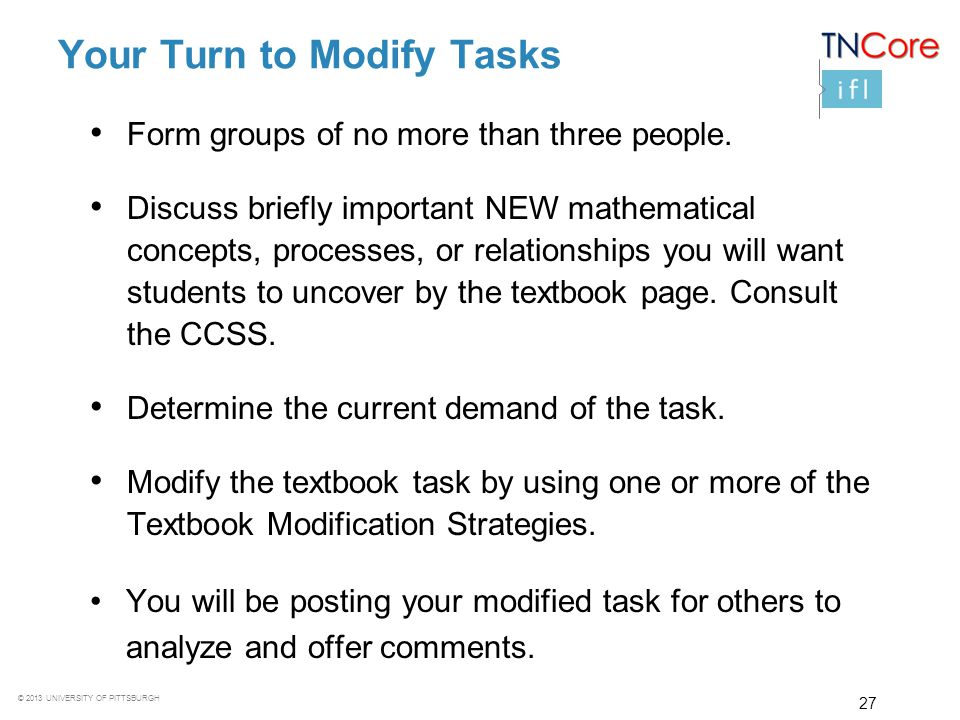 Your Turn to Modify Tasks