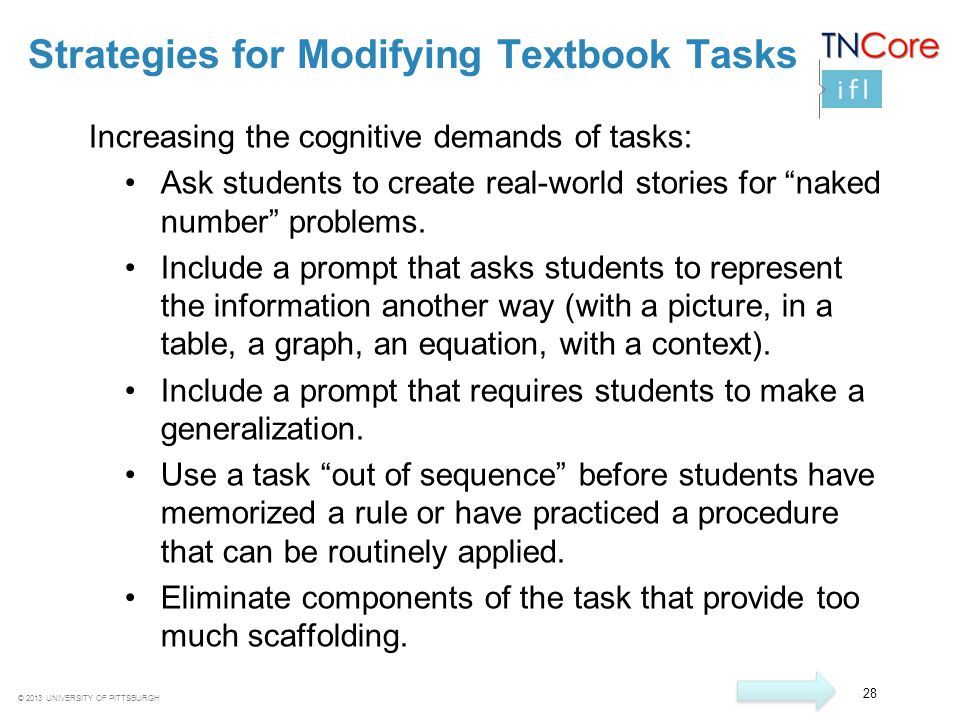 Strategies for Modifying Textbook Tasks