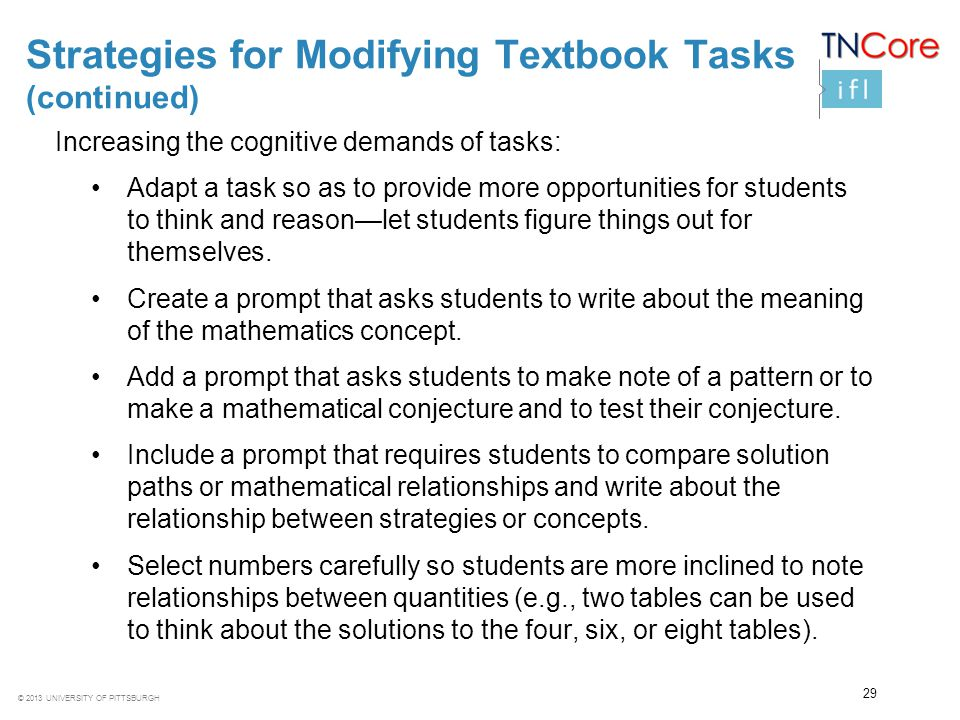Strategies for Modifying Textbook Tasks (continued)