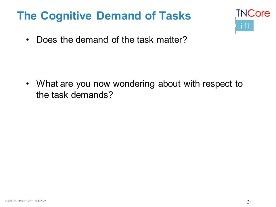 The Cognitive Demand of Tasks