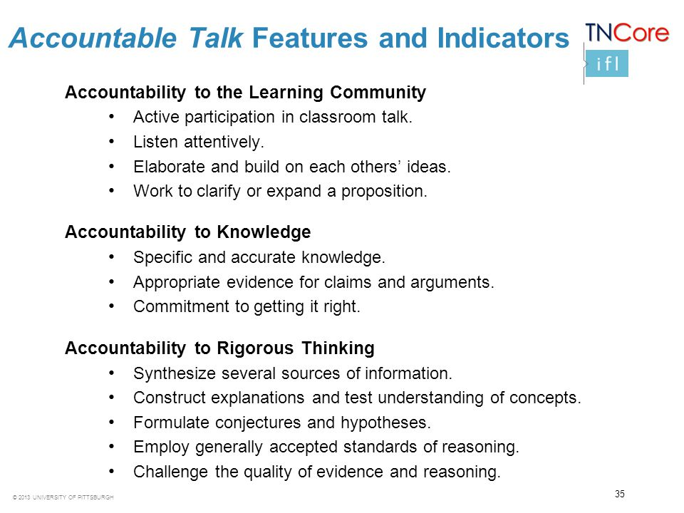 Accountable Talk Features and Indicators