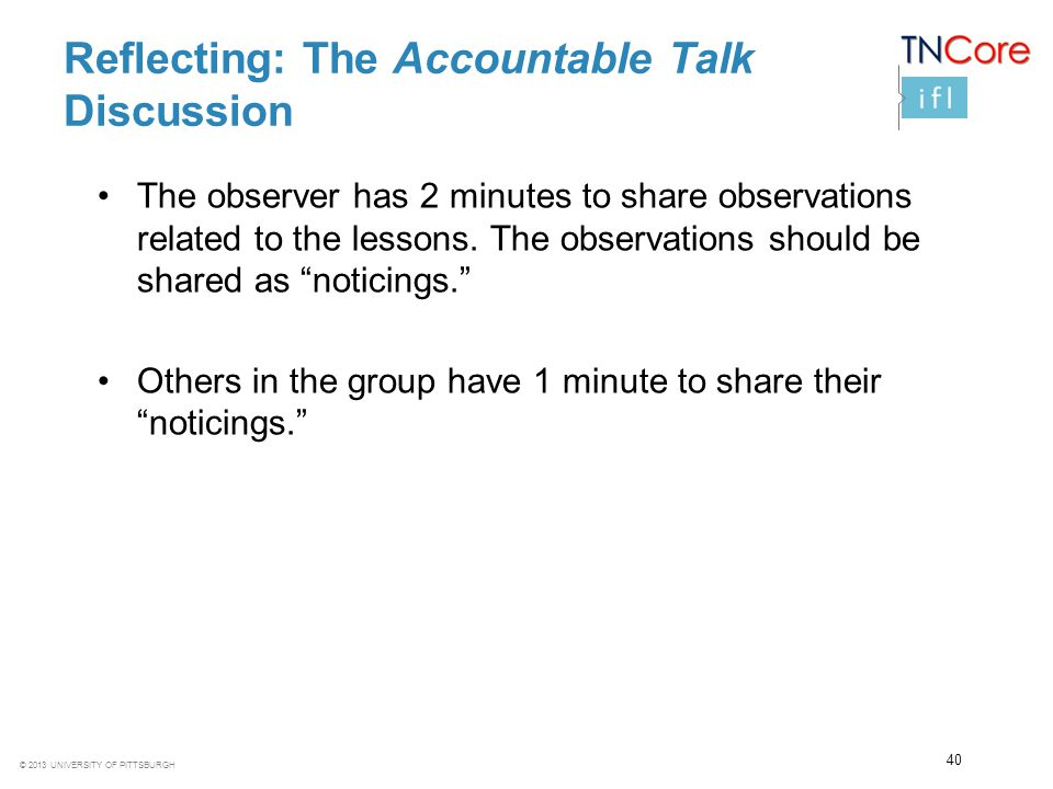 Reflecting: The Accountable Talk Discussion