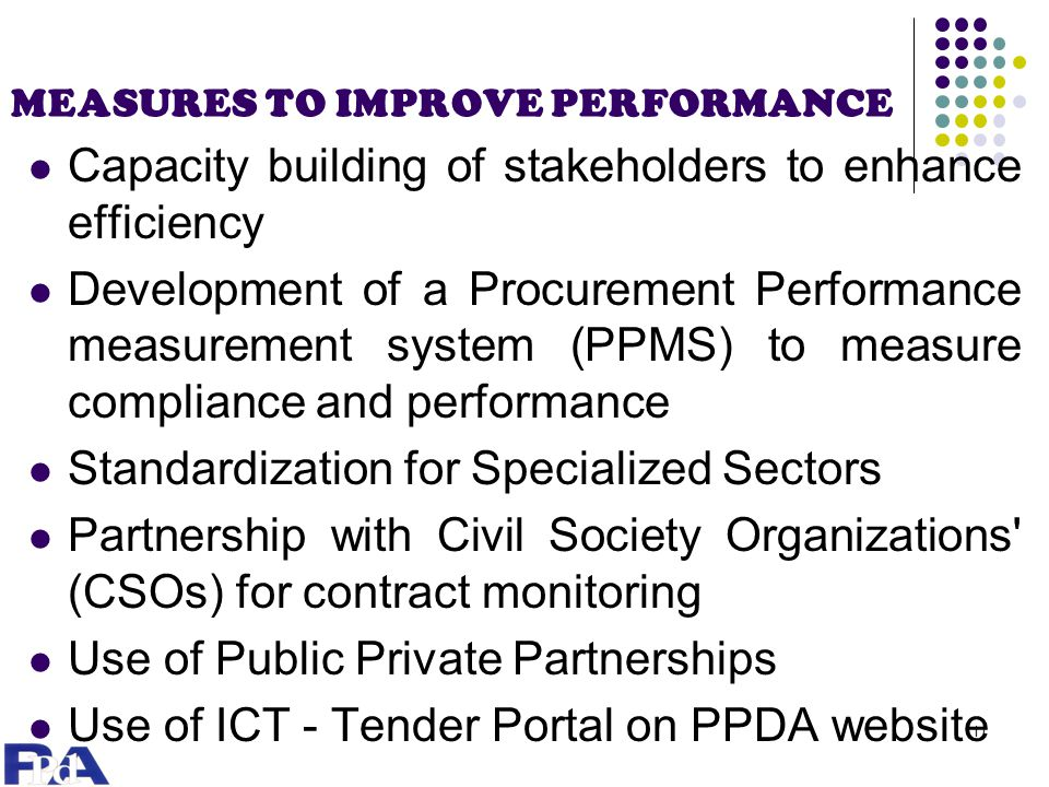 MEASURES TO IMPROVE PERFORMANCE