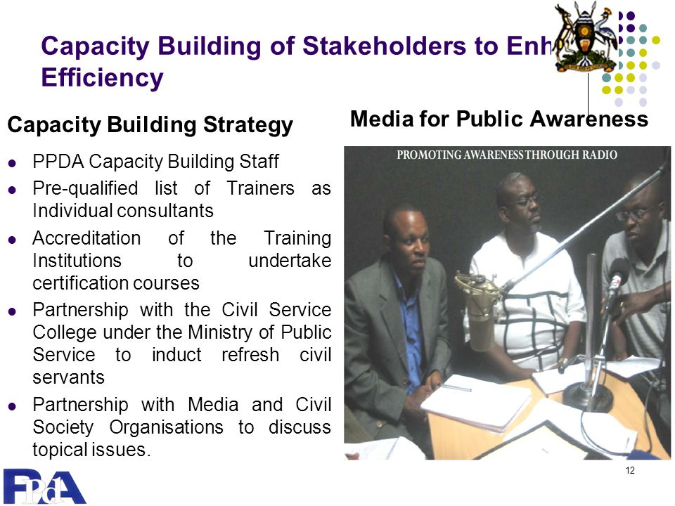 Capacity Building of Stakeholders to Enhance Efficiency