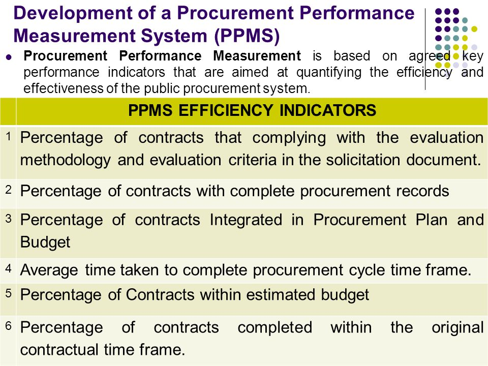 Development of a Procurement Performance Measurement System (PPMS)