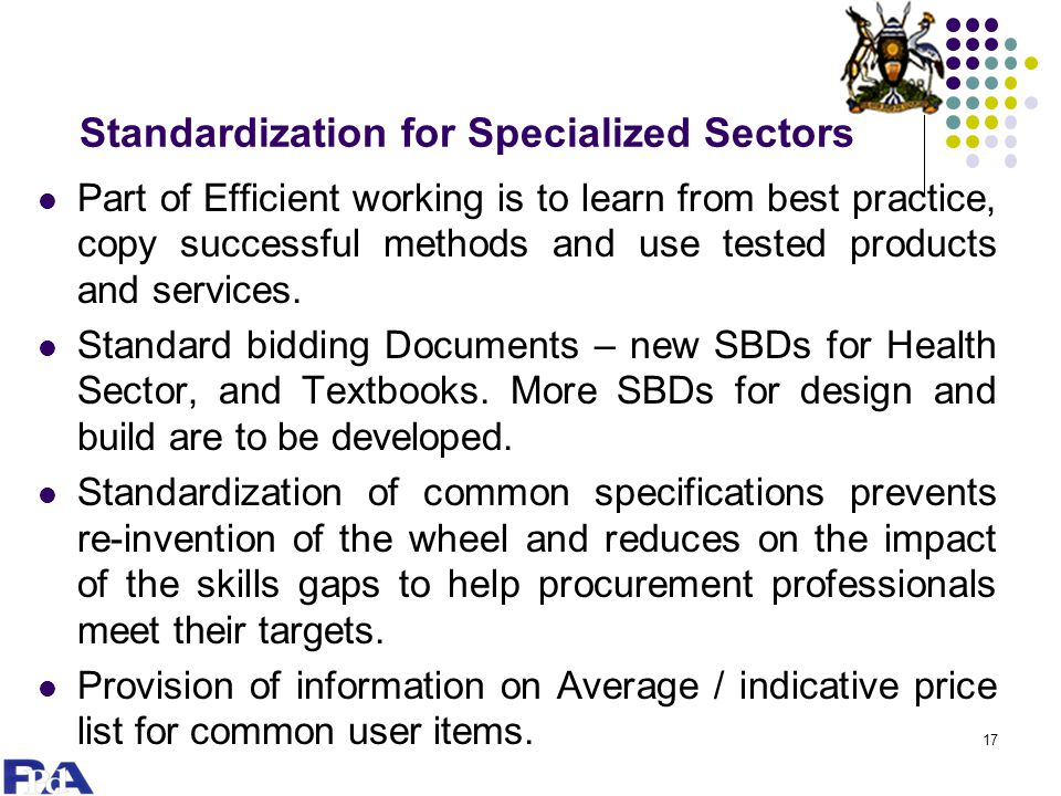 Standardization for Specialized Sectors