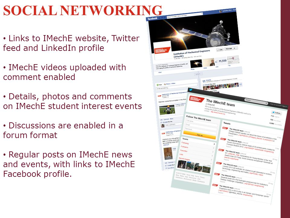 SOCIAL NETWORKING Links to IMechE website, Twitter