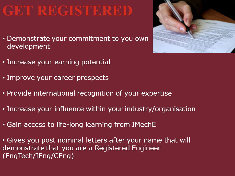 GET REGISTERED Demonstrate your commitment to you own development