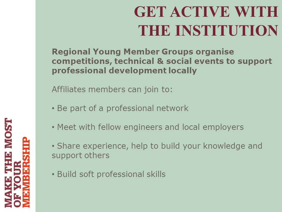GET ACTIVE WITH THE INSTITUTION