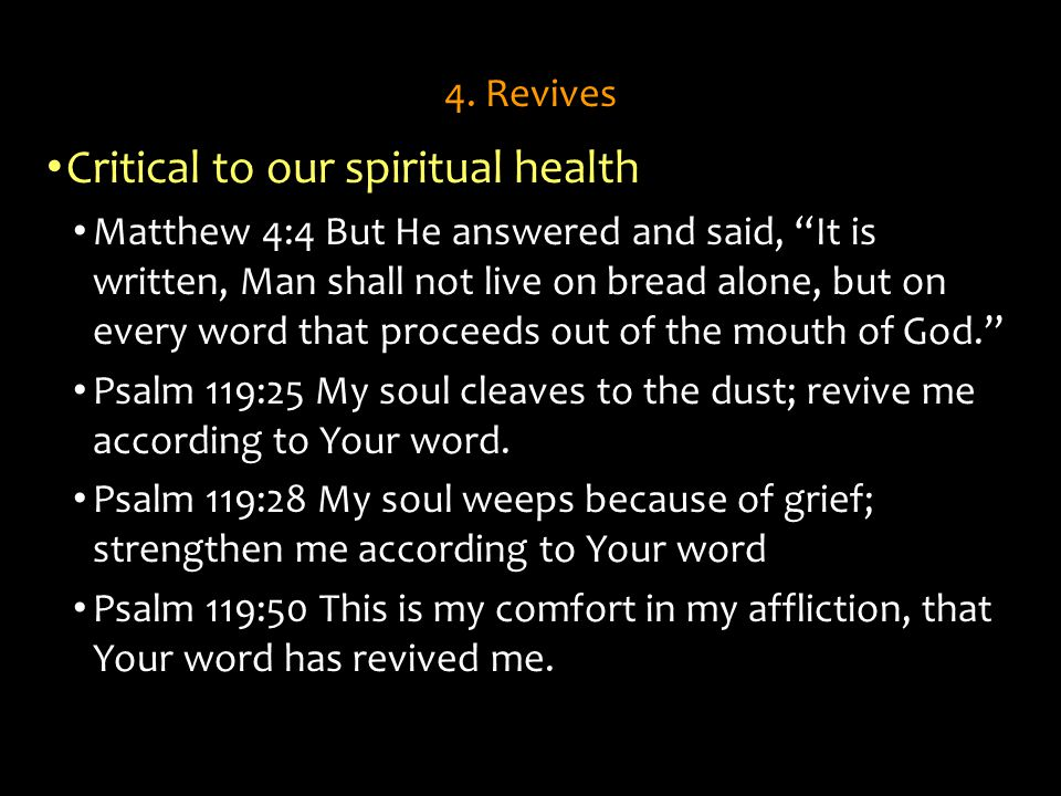 Critical to our spiritual health