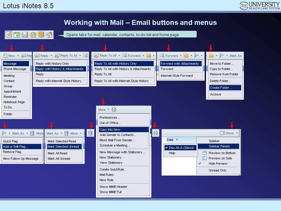 Working with Mail – Email buttons and menus