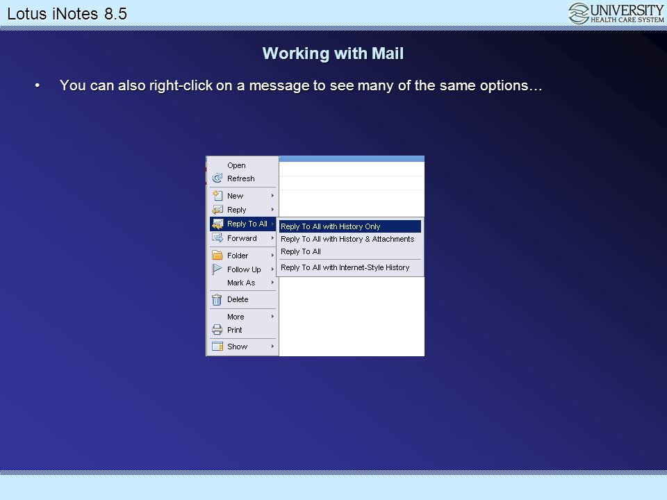 Working with Mail You can also right-click on a message to see many of the same options…