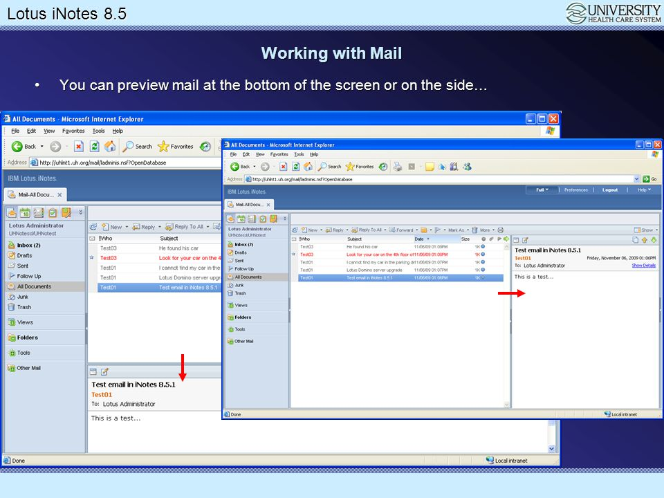 Working with Mail You can preview mail at the bottom of the screen or on the side…