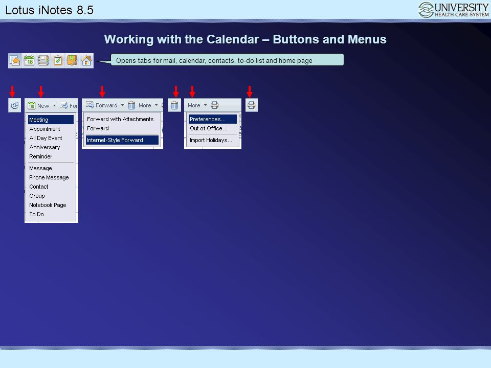 Working with the Calendar – Buttons and Menus