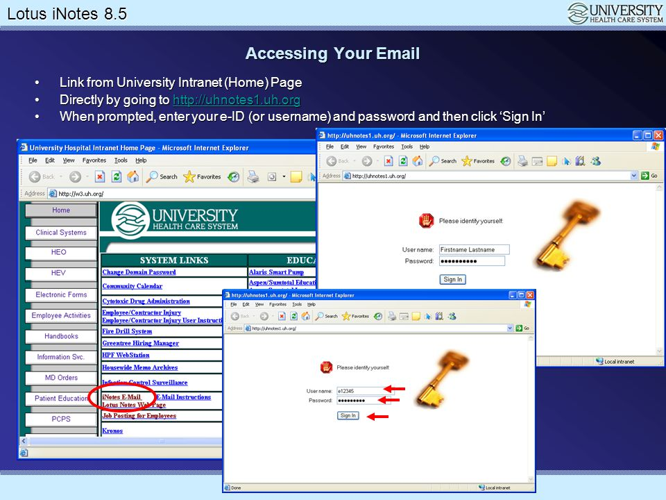 Accessing Your Email Link from University Intranet (Home) Page