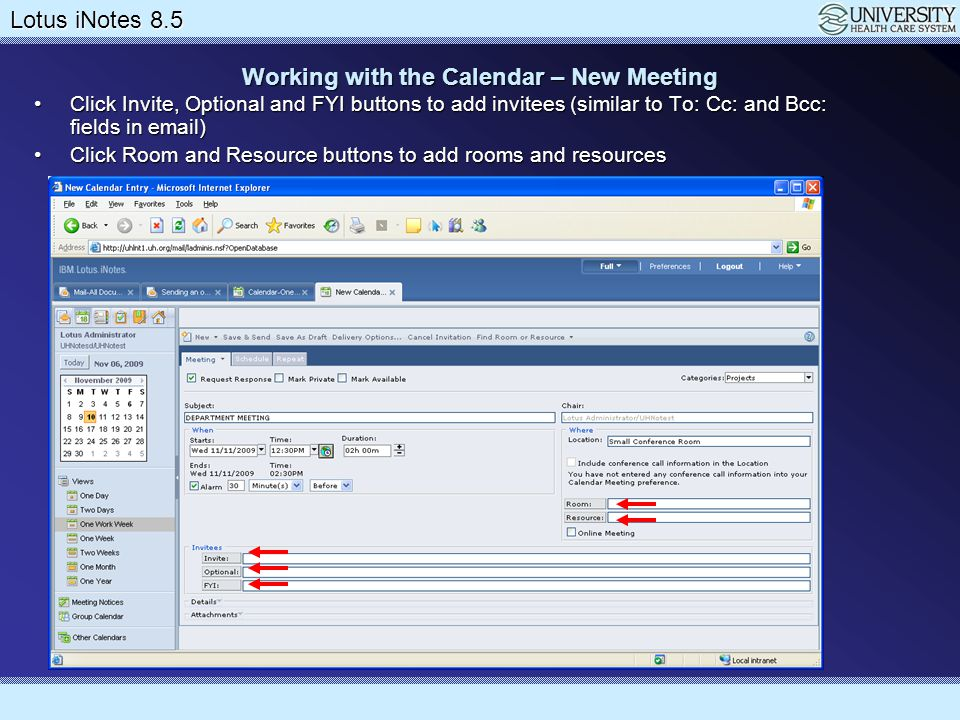 Working with the Calendar – New Meeting