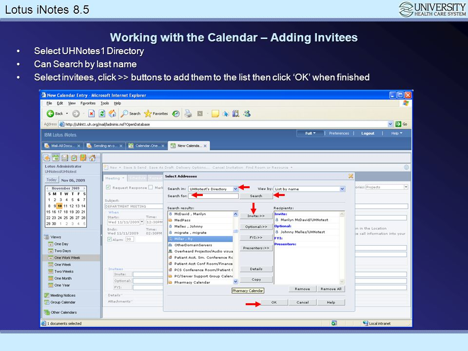 Working with the Calendar – Adding Invitees